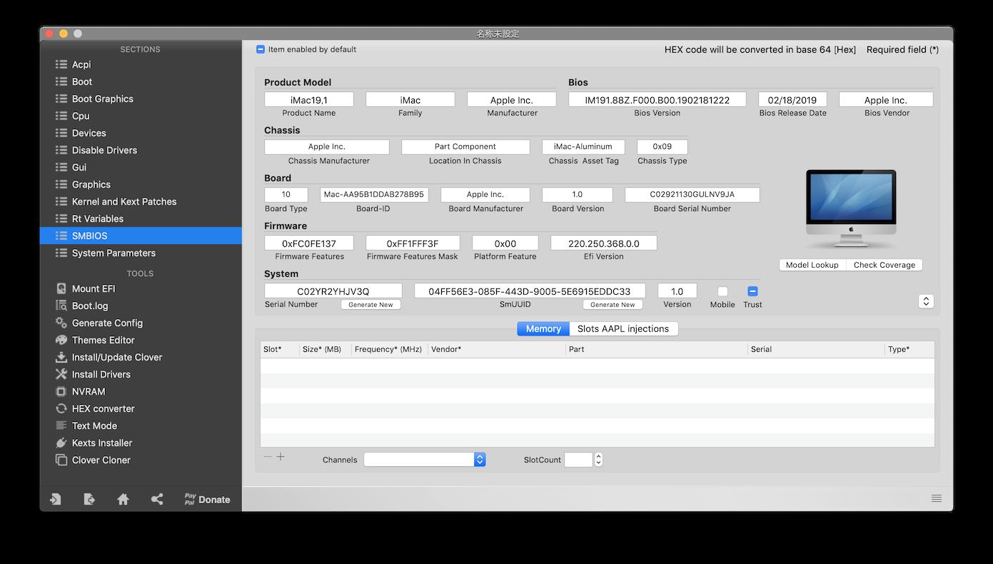 036feafd29 最新のClover Configuratorを使うと新型iMacであるiMac19,1のSMBIOSを生成することができます。まずはClover  Configuratorの左のメニューからSMBIOSを選び、モデルの ...